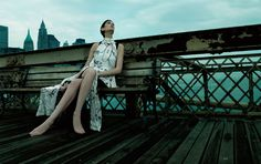 Peaceful surroundings & a smooth silk dress . NYC . @ Sean Kennedy Santos