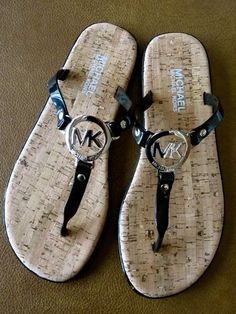 Michael Kors MK Black Silver Charm Logo Jelly Flip Flop Thong Sandals..need!!!!