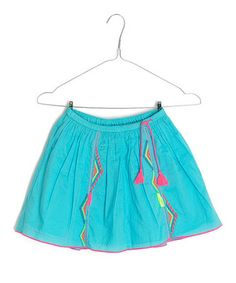 Look at this #zulilyfind! Teal Embroidered A-Line Skirt - Girls by Mim Pi #zulilyfinds