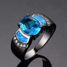 Size-6-7-8-9-Stunning-10KT-Black-Gold-Filled-Sapphire-Opal-Gothic-Victorian-Ring