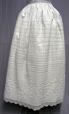 1840's - 50's Quilted Petticoat | eBay, white cotton, waist 27, length 37. Waist band replaced in the back & has ties.  Lace is hand crocheted.  Excellent condition.