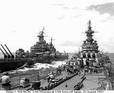 Uss Navy Missouri and Iowa 1945