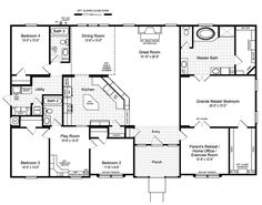 the hacienda ii vrwd66a3 standard floor plan manufactured homes - 4 Bedroom House Floor Plans