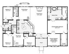 the hacienda ii vrwd66a3 standard floor plan manufactured homes - 4 Bedroom House Floor Plans