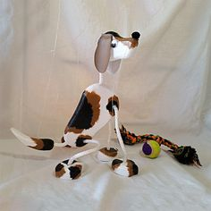Beagle Puppy Dog Marionette  Wooden Puppet Pets by PuppetPets