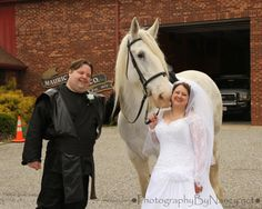 Star Wars Wedding. Bride and Groom with white horse. Anakin Skywalker Costume. Wedding Photos. South Jersey Wedding Photographer. Blackwood Photographer. Gloucester Township Photographer.