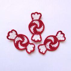 3pcs Peppermint Candy Crochet Applique - Supplies For Christmas Ornament Decoration. $5.50, via Etsy.