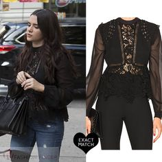 Katie Stevens as Jane in sheer black lace blouse on The Bold Type season 1 Casual Work Outfits, Chic Outfits, Girl Outfits, Fashion Outfits, Black Lace Blouse, Black Lace Tops, Fashion Tv, Womens Fashion, Katie Stevens