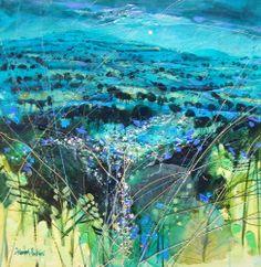 """Title: Turquoise Hillside Dusk Size: 18"""" x 18"""" image size"""