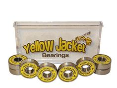 Yellow Jacket Premium Bearings, Skateboards, Longboards, Rollerblades, High Precision Rating, Single Yellow Seal, Pre-Lubricated, Long Lasting (Pack of 8)