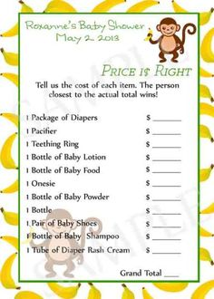 Jungle Baby Shower Games Printable by Moments2Celebrate on Etsy