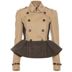 Burberry Prorsum Trench Jacket With Tweed Peplum (€2.485) ❤ liked on Polyvore featuring outerwear, jackets, coats, burberry, tweed jacket, beige jacket, double breasted jacket, double breasted trench coat and peplum trench coat