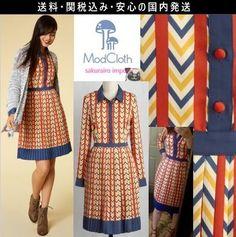 ★ モドクロス modcloth レトロ シェブロン シャツワンピース 2016 秋 ファッション