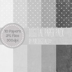 Grey Hearts Paper Digital Distressed Paper Grey by PureDigitals, $4.00