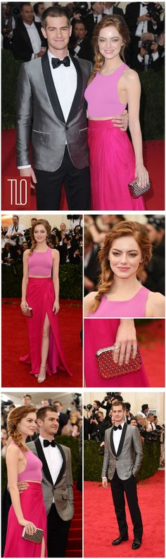 pretty in pink, and he's looking very tom hanks-y. Emma Stone in Thakoon, with Andrew Garfield at 2014 Met Gala