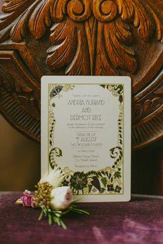 art nouveau wedding invitations - photo by Paula O'Hara http://ruffledblog.com/art-nouveau-irish-mansion-wedding #weddinginvitations