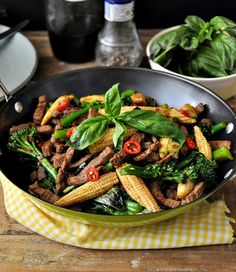 Recpe:THAI BEEF VEGETABLES & BASIL STIR FRY