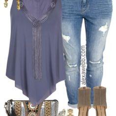 Plus Size Boyfriend Jeans Outfit - Plus Size Fashion for Women - AlexaWebb.com #alexawebb