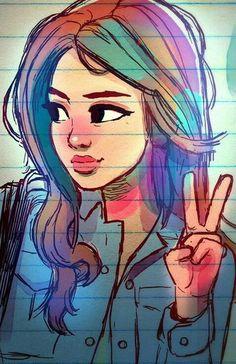 It's street art Tumblr Drawings, Girly Drawings, Cartoon Drawings, Cartoon Art, Digital Art Girl, Anime Art Girl, Marker, Art Sketches, Bunt