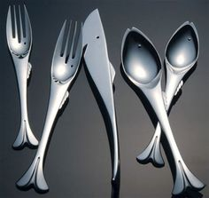 Fish Cutlery. I have a perfectly fine (and liked!) set of cutlery, but this would be awesome with my etched fish glasses!