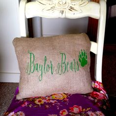 Baylor Bears hand-painted burlap pillow