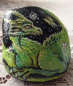 Handpainted dragon rock https://www.facebook.com/Aprilsartrocks Painted rocks for sale