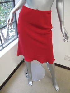 Prada Red A Line Mid Calf Skirt 38 | eBay