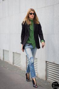 Sarah Rutson of Net-A-Porter before Bottega Veneta fashion show. Shop this look (or similar) here: Blouse: BAND OF OUTSIDERS Silk-satin twill shirt Blazer: ALEXANDER WANG Wool-gabardine blazer Jeans: ACNE STUDIOS Pop Light Vintage boyfriend jeans Shoes: GIANVITO ROSSI Cutout satin ankle boots STYLE