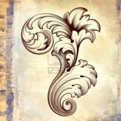 vintage baroque engraving floral scroll filigree design frame border acanthus pattern element at retro grunge background Stock Photo