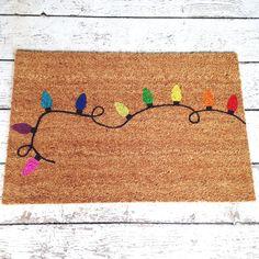Christmas Lights Welcome Mat / Doormat Door Mat Gift by LoRustique