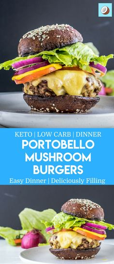 Portobello Mushroom Burgers are a fantastic keto recipe, perfectly Flavourful, and can be eaten during Winter, or all year round. You are going to love making this Portobello Burger recipe, especially since its High in B vitamins. via @fatforweightlos Portobello Mushroom Burger, Keto Foods, Ketogenic Recipes, Keto Carbs, Keto Snacks, Keto Mushrooms, Stuffed Mushrooms, Sugar Free Recipes, Hamburgers