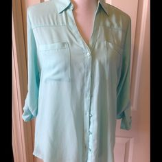 Express Seafoam Green Blouse Roll up button sleeves. Front pocket. Seafoam green color. Express Tops Button Down Shirts