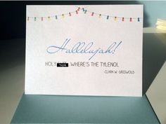 """Holy sh*t, where's the tylenol?"""" Handmade, Christmas vacation, Clark Griswold inspired greeting card by UptownDesignsCanada on Etsy Clark Griswold, Christmas Vacation, Holi, Etsy Store, Christmas Cards, Greeting Cards, Handmade Christmas, Unique Jewelry, Handmade Gifts"""