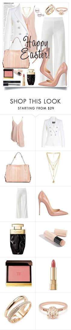 """""""Blush Easter Outfit"""" by perezbarrios on Polyvore featuring Sans Souci, Balmain, Enzo Angiolini, Rebecca Minkoff, Diane Von Furstenberg, Christian Louboutin, Burberry, Dolce&Gabbana and Effy Jewelry"""
