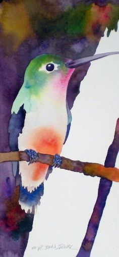 "'Hummingbird' watercolor -  6"" x 12.5""  by Bob Ichter ♥•♥•♥"