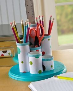Tabletop Organizer | Don't Throw Out Those Paper Towel and Toilet Paper Rolls! Here Are 17 Brilliant Ways to Reuse Them!