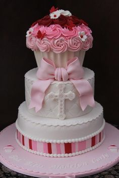 Torta primera comunión rosa