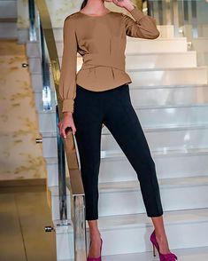 Solid Bowknot Design Open Back Blouse Casual Skirt Outfits, Classy Outfits, Chic Outfits, Fashion Outfits, Blouse Designs, Blouse Styles, Mode Top, Trend Fashion, Stylish Shirts