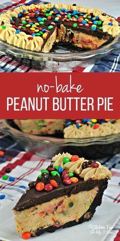 No-Bake M&M Chocolate Peanut Butter Pie - EASY RECIPES