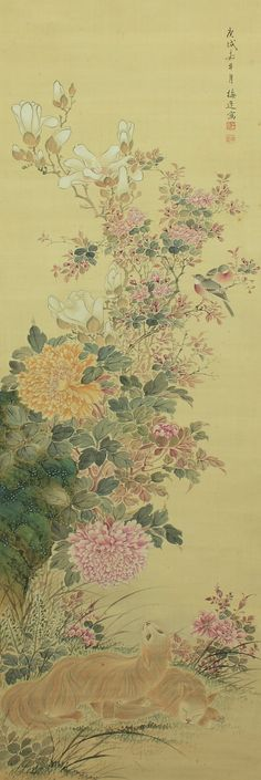 Yamamoto Baiitsu (1783 - 1856)  Baiitsu was good at painting Sansui landscape views and flowers & birds.  Now, he is generally categorized as Nanga style painter.  However, he established his own original, exquisite and concinnous painting style as he was influenced by several styles such as realism of the Maruyama-Shijo school and techniques of Chinese old paintings