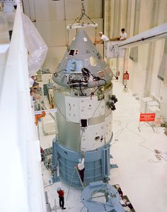 Apollo Spacecraft 12 Command/Service Module is moved from H-134 to east stokes for mating to the Saturn Lunar Module Adapter No. 05 in the Manned Spacecraft Operations Building. Spacecraft 12 was to have flown on the Apollo/Saturn 204 mission (later known as Apollo 1).