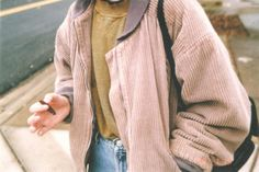 $70 Cool Vintage Retro Grey Beige Brown Corduroy Collared Oversized Jacket 90's Old School Style Weekend Street Style Outfit Tumblr