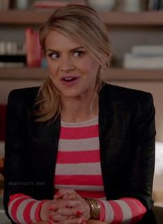 5783b70660 Jane s pink and white striped long sleeve tee and black blazer on Happy  Endings. Outfit