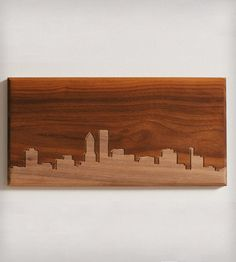 "Portland Skyline Wood Art | CNC routed skyline of Portland in solid walnut. Dimensions: 6""... | Artwork $55"