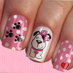 Animal Nail Designs, Animal Nail Art, Nail Art Designs, Cute Nail Art, Cute Nails, Pretty Nails, Paw Print Nails, Glow Nails, Nails For Kids
