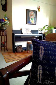 the zig zag ottoman dhurrie in indigo by sihasn Decorating Blogs, Interior Decorating, Best Interior Design Blogs, Indian Fabric, Handmade Shop, Ottoman, Fabrics, Minimalist, Zig Zag