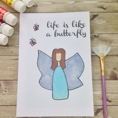 Life Is Like A Butterfly Greetings Card. Perfect for women, mothers, daughters, sisters, friends and loved ones. Whimsical colourful art.