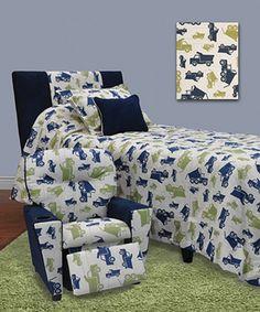 Loving this Blue & Green Trucks Bedroom Set on #zulily! #zulilyfinds