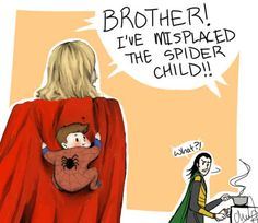 Uncles by lovelynody00 @ tumblr | http://lovelynobody00.tumblr.com/post/24794112358/look-what-i-arted-today-this-is-what-happens-when #loki #thor #spider-man