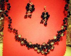 SET bijuterii din Cristale austriece  perle negre